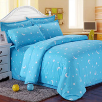 Atacado- Single Double King Size Algodão Blend Bed Set Blue Star Moon Bedding Sets Travesseiros Bedsheet Bedclothes Quilt Duvet Cover