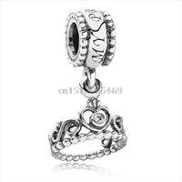 Wholesale Diy Princess Crowns - Fashion Romantic Princess Crown 925 Sterling Silver European Bead Charm For New DIY Women Snake pandora Bracelet Pendants Bangle Jewelry