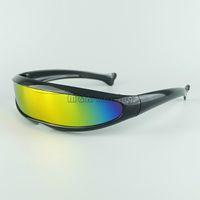Wholesale neon glasses frames - Futuristic Cyclops Neon Shield Color Mirror Lens Wrap Sunglasses 7 Colors Alien Glasses Fashion Driving Goggles Mix Colors