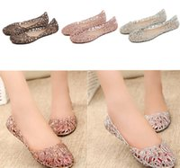 Wholesale Summer Breathable Jelly Shoes - DORP SHIPPING New 2015 summer women sandals breathable shoes crystal jelly nest crystal sandals female flat sandal shoes woman