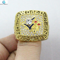 Wholesale Enamal Jewelry - 1993 Toronto Blue Jays World Series Championship Ring US Size 11 Red Blue Red Enamal Crystal Gold Pleated Big Ring Men Jewelry