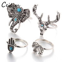 Wholesale Vintage Deer Head - Retro 4pcs Set Bohemian Vintage Silver Elephant Deer Head Unicorn Rings For Women Fatima Hand Ring Jewelry Set Accessories