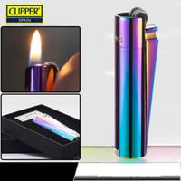 caixas de terra venda por atacado-Atacado-Espanha Clipper Lighters, metal inflável rebolo gase colorido isqueiro Gift Box melhor isqueiro de espanha