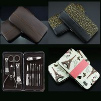Wholesale Leather Grooming Case - 12pcs Manicure Set Nail care Tools Leather Case for Personal Manicure Pedicure Set Travel Grooming Kit Tools With Retail package