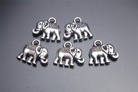 Wholesale Jewelry Silver Pendant Findings - 200pieces 14mm Elephant Pendant 7027 Charms Plated Silver DIY Jewelry Finding Making Charms Necklace infinity Bracelets Earring Accessory