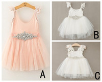 Wholesale Rhinestone Shoulder Straps - PrettyBaby Infant Baby Girl Dresses With Lace Shoulder straps Rhinestone Sash dress pink white Girl Wedding Wear free shipping