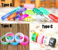 Wholesale Silicone E Cigarette - E cigarette silicone band vape ring various patterns silicon decorative ring for dark horse Kayfun V4 Russian igo w3 veil rda RBA DCT Mod
