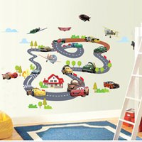 Wholesale Kids Wall Stickers Cartoon Car - Cartoon Highway Track Car Wall Stickers Kids' Room Wall Decor baby Room Home Decoration Wall Paper