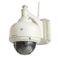 Wholesale Ip Camera Outdoor Eu - New Sricam Motion Detect HD H.264 Wireless PTZ Dome Wifi Network IP Camera EU Plug WifI IR Outdoor Waterproof Camera IP H1E1