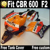carenagem de motocicleta laranja preto venda por atacado-Carenagens de motocicleta para HONDA CBR 600 1991 1992 1993 1994 F2 CBR600 91 - 94 kit de carenagem de plástico preto REPSOL RP14