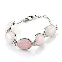 "Wholesale Oval Id Bracelet - Wholesale-SAF Hot Oval Pink Rose Quartz Chain Bracelet Link 0.71x0.51"" HOT"