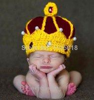 bebek örme taç toptan satış-El örgü şapka PULLOVER çocuk fotoğrafçılığı kralın taç hatcotton bebek şapkaları