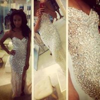 Wholesale White Fully Beaded Sheath Gown - Sparkly Diamond Long Prom Dresses Fully Beaded Crystal Party Gowns Homecoming Graduation Dress Sheath Sexy High Slit robe de soiree Cheap