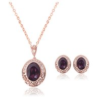 Wholesale Purple Evening Necklace Set - Newest Model Retro Necklace Earrings Sets Lady Evening Jewelry Sets Charm Women Fashion Crystal Jewelry Set CAL21052A