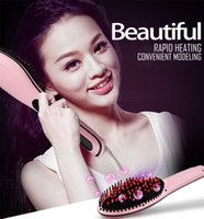 Wholesale Hair Straightener V Comb - Safe and Fast Straighten Hair LCD Temperature Display Electric Hair Straightener Straight Hair Styling Tool Flat Iron Comb Design
