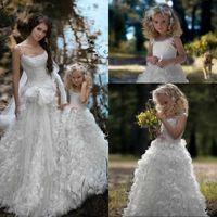 Wholesale Christmas Wedding Dress For Sale - 2016 Hot Sale Adorable Ball Gown Flower Girls Dresses for Weddings Birthday Ruffles Sequins Spaghetti Straps For Children Communion
