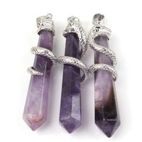 Wholesale Wicca Amulet - Silver Plated Snake Amethyst Malachite etc Natural Stone Hexagon Prism Point Reiki Pendulum Pendant Charms Wicca Witch Amulet Jewelry 10pcs