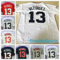 Wholesale Cool White Shirts - Throwback Omar Vizquel Jersey Cleveland Retro Baseball Jerseys #13 White Gray Blue Cool Flex Base Stitched Shirts Fast Shipping