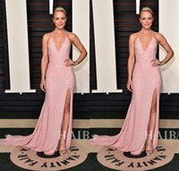 Robes de soirée de célébrité oscar rose rouge Avis-Halter rose pailleté Red Carpet Celebrity Dresses 2016 88e Oscar Deux Toned long Backless Robes de soirée de Split Side Prom Après Robes de soirée