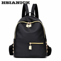 Wholesale cloth soft book - 2017 woman new design fashion black backpack Oxford cloth casual shoulder bag female Mummy book bag soft leather school backpack