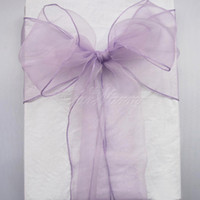 Wholesale Lavender Organza Fabric - 100 Lavender Organza Chair Sashes Lilac Light Purple Crystal Table Sample Fabric wedding Bow Gift -SASH