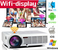 Wholesale Vga Android - HD Projector LCD Led Full Hd 3d Android Wifi Projecteur LED96 Real 3000lumens 1280x800 Cinema Video HDMI USB VGA TV Home Theater Proyector