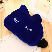 Wholesale Korean Cases Free Shipping - HOT Makeup Cosmetic Bags Cases Portable Cartoon Cat Coin Storage Case Travel Makeup Flannel Pouch Cosmetic Bag 5 Colors Free Shipping