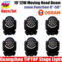 Atacado-6pcs / lot Big Eye Zoom Led Moving Head Light Osram 19x12W 4em1 luzes principais moventes da lente ajustável Ângulo de feixe Led Moving Head Feixe