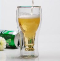 бутылки для водки оптовых-Hopside вниз бутылка творческий двойная стена пиво вино молоко напиток водка Рюмка пива кружка питьевой чашки прочный чашки для партии бар 350 мл