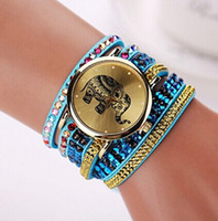 Wholesale Elephant Pins - 100 pcs 2015 New Style Tower Eiffel Fabric Crystal Bracelet Wristwatch Fashion Casual Watches Elephant Female Watch XR1215