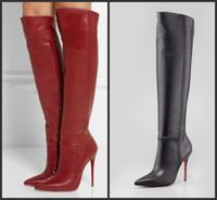 topuklu ayakkabılar toptan satış-Diz Yüksek Çizmeler 2017 Patik Yüksek Topuklu Kadın Motosiklet Botları Wonter Ayakkabı Kadın Marka Ayakkabı Için Gerçek Deri Çizmeler Kırmızı Siyah Boot
