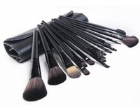 Wholesale makeup tool roll online - Black Brown handle Professional Makeup Brushes set Cosmetic Brush Set Kit Tool Roll Up Case DHL