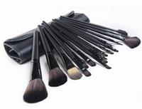 ingrosso rullo utensile trucco-Manico nero / marrone 18Pcs Pennelli per trucco professionale Set di strumenti per set di pennelli cosmetici + Custodia arrotolata DHL