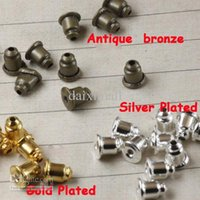 Wholesale Antique Bronze Studs - 1000piece Wholesale Antique Bronze-Silver Plated-Gold Plated Earring Back Stoppers-Ear Post Nuts Settings for Earring Studs