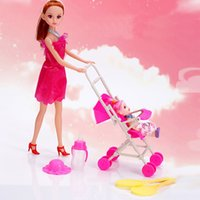 Wholesale Trolley Car Toys - Wholesale- Fashion Girl toys brinquedos Gifts Baby trolley Reborn baby car carriage Bjd doll set juguetes Toys for Children action figure