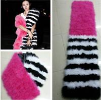 Wholesale Genuine Fur Cape - Wholesale-2015 Women New Fashion Winter Ladies Colorful Natural Turkey Fur Scarf Big Size Genuine Ostrich Fur Collar Real Cape Scarves