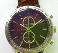 1887 kuvars toptan satış-Lüks Üst Markalar İsviçre Kalibre CAL 1887 Kronometre Erkek Kuvars Spor Chronograph Saatı Yüzleri Siyah Hakiki Deri Erkek Saatler tarih