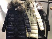 Wholesale Fox Fur Collar Coat Long - M Brand women luxurious Large fox fur collar hooded Down coat warm down parkas long winter jacket 3 colors