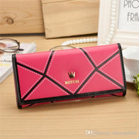 Wholesale Crown Smart Pouch Wholesale - New 2015 Fashion Designer Handbags Updated Version PU Leather Crown Smart Pouch Bag Card Holders Women Wallet Purses free shipping 0760