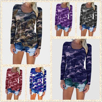 Wholesale blouses camouflaged - Women Long Sleeve Camouflage Tee Shirts Tops Camo T-Shirts Casual Blouse Tops Lady Loose T-Shirt 10pcs LJJO3548