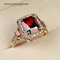 Wholesale Lady Austrian Crystal - Hotselling!!! Rose Gold Color Perfect Cut Red Crystal Rectangle Austrian Crystal Luxury Lady Finger Ring Wholesale 18krgp