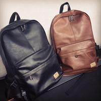 bolsas de escola de couro para adolescentes venda por atacado-Atacado-2015 Designer Men mochilas Pu couro mochila School Bag para adolescentes mulheres negras mochila de viagem Bolsas Feminina B25
