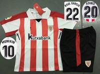 Wholesale Athletic Boy Shorts - 2017 2018 Kid's Athletic Bilbao Soccer Jersey Short Boy's Thai Quality Soccer Kit 17 18 GURPEGUI MUNIAIN Football Uniform Camiseta de futbol