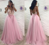 Wholesale Designer Beaded Tops - Wholesale Pink Spaghetti Straps Prom Dresses Lace Top Beaded A Line Evening Gowns Fluffy Skirts Sexy Backless Prom Gowns 2018 New Designer