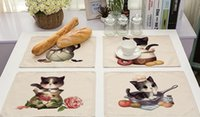 Wholesale Dinners Coaster - Cute cat placemat Cotton linen lovely teacup cat printed coaster pad Heat insulation dinner decoration pad