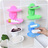 Wholesale design chrome - Plastic Soap Holder Two Layers Hollowed Out Design Soaps Dishes Wall Suction Storage Box Factory Direct Sale 2mh B R