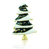 Wholesale Gold Plated Christmas Tree Brooch - Wholesale High Quantity Brooches Pins Fashion Enamel Christmas Tree Gold Plated Brooches Weddings Christmas Decoration Jewelry