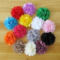 "Wholesale Headbands Rosettes - 100pcs lot 2"" Rosette Flat back artificial flowers satin silk carnation fabric flowers for headbands baby Hair accessories HA0058"