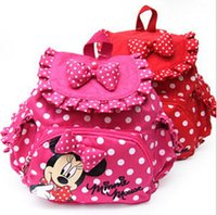 Wholesale Minnie Men - Children Backpacks Baby Girls School Bags Polka Dots Cartoon Minnie Mochila Infantil Retail 1PC ZZ3057 2016