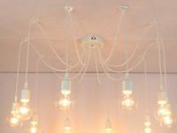 örümcek avizeleri toptan satış-Retro avize E26 E27 örümcek lamba kolye ampul tutucu Edison diy aydınlatma lambaları fenerler aksesuarları messenger tel ampulleri hariç gemi